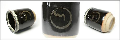 家紋入り黒ウノフ流し湯のみ5