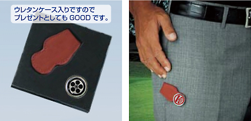 家紋入りレザーポケットクリップ&マーカケースとポケット