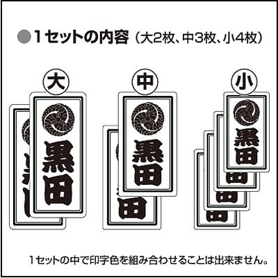 家紋入り千社札風シール(プチセット)セット説明