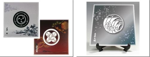 陶器製 家紋入り楯(侘寂)各アングル