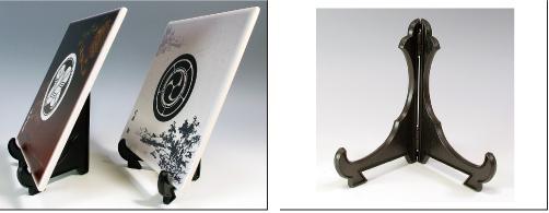陶器製 家紋入り楯(侘寂)横向き