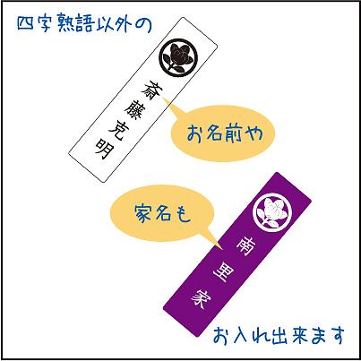 家紋入り四字熟語ストラップ印字例