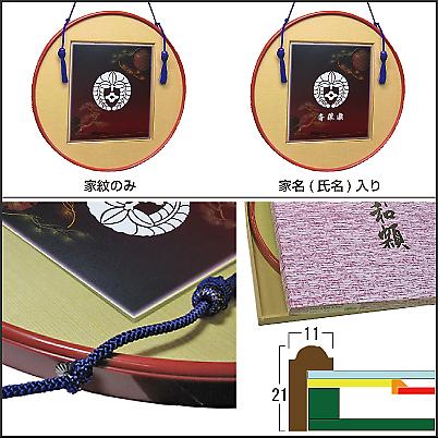家紋色紙額 ー円(つぶら)ー額縁の説明2