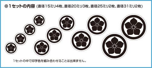 家紋シール(プチセット)サイズ・入り数