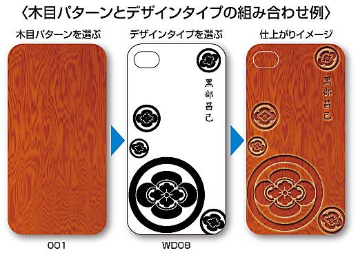 家紋入りiPhoneケース(WOOD)木目パターンとデザインの組み合わせ例