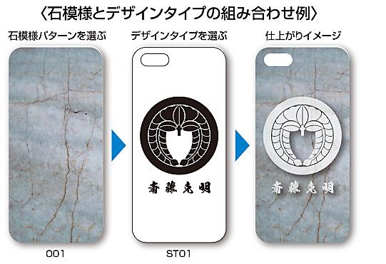 家紋入りiPhoneケース(Stone)石パターンとデザインタイプの組み合わせ説明2