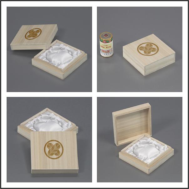 家紋入り念珠箱(正方形82桐箱について各アングル2