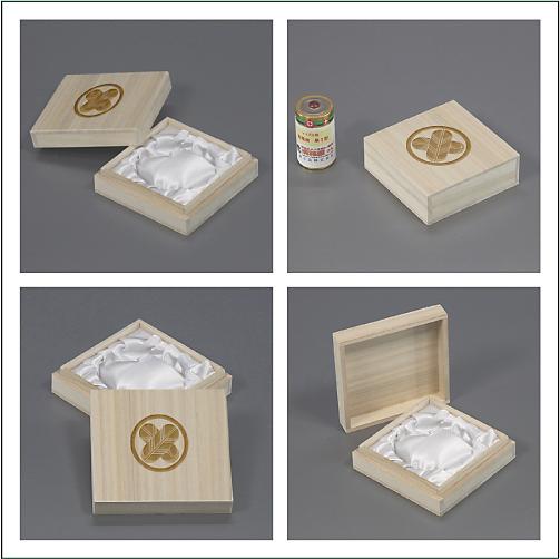 家紋入り念珠箱(正方形82桐箱について各アングル