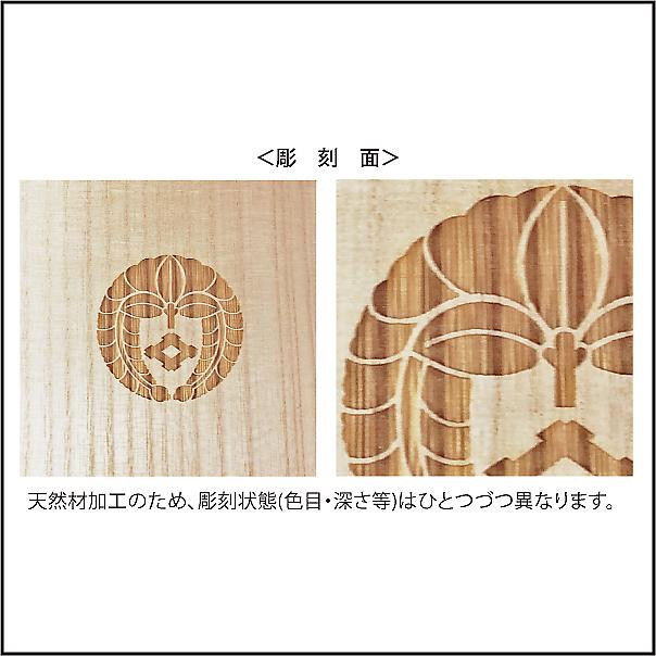 家紋入り念珠箱(正方形82彫刻状態