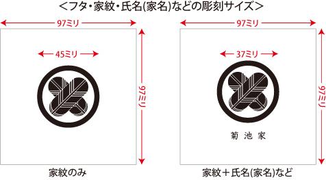家紋入り念珠箱(正方形82印字位置・サイズ説明