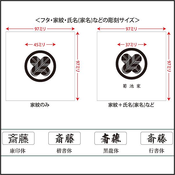 家紋入り念珠箱(正方形82印字位置・サイズと書体