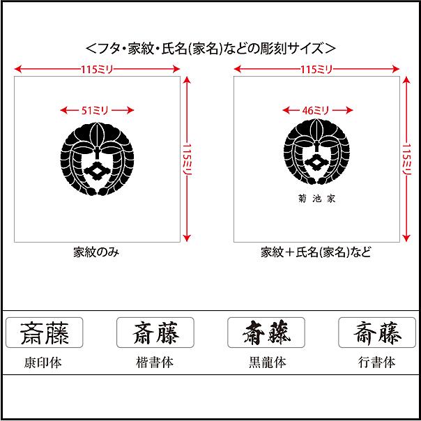 家紋入り念珠箱(正方形100印字位置・サイズと書体