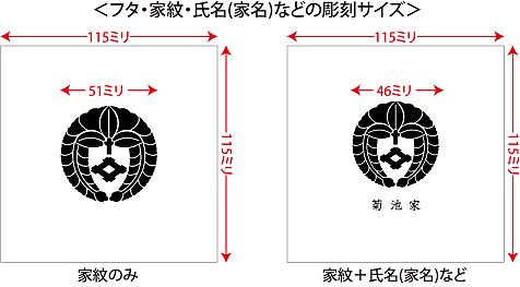 家紋入り念珠箱(正方形100印字位置・サイズ