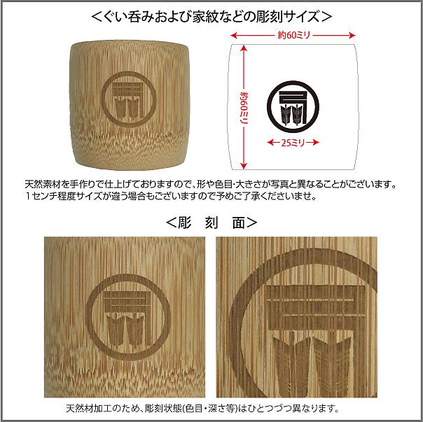 ぐい呑(竹)彫刻部分の写真とサイズ説明