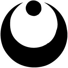 真向き月に星紋