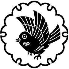 雪輪にひな雀紋