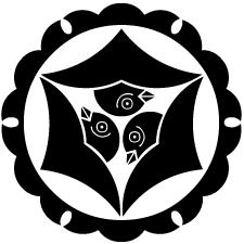 外雪輪に頭合わせ三つ雁金紋
