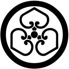 丸に中陰尻合わせ三つ葵紋
