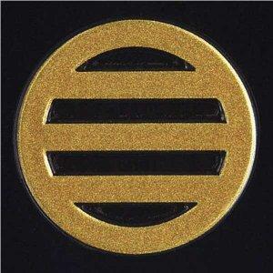 家紋 蒔絵シール「丸に三つ引き」金30mm