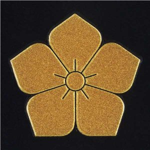 家紋 蒔絵シール「桔梗」金30mm